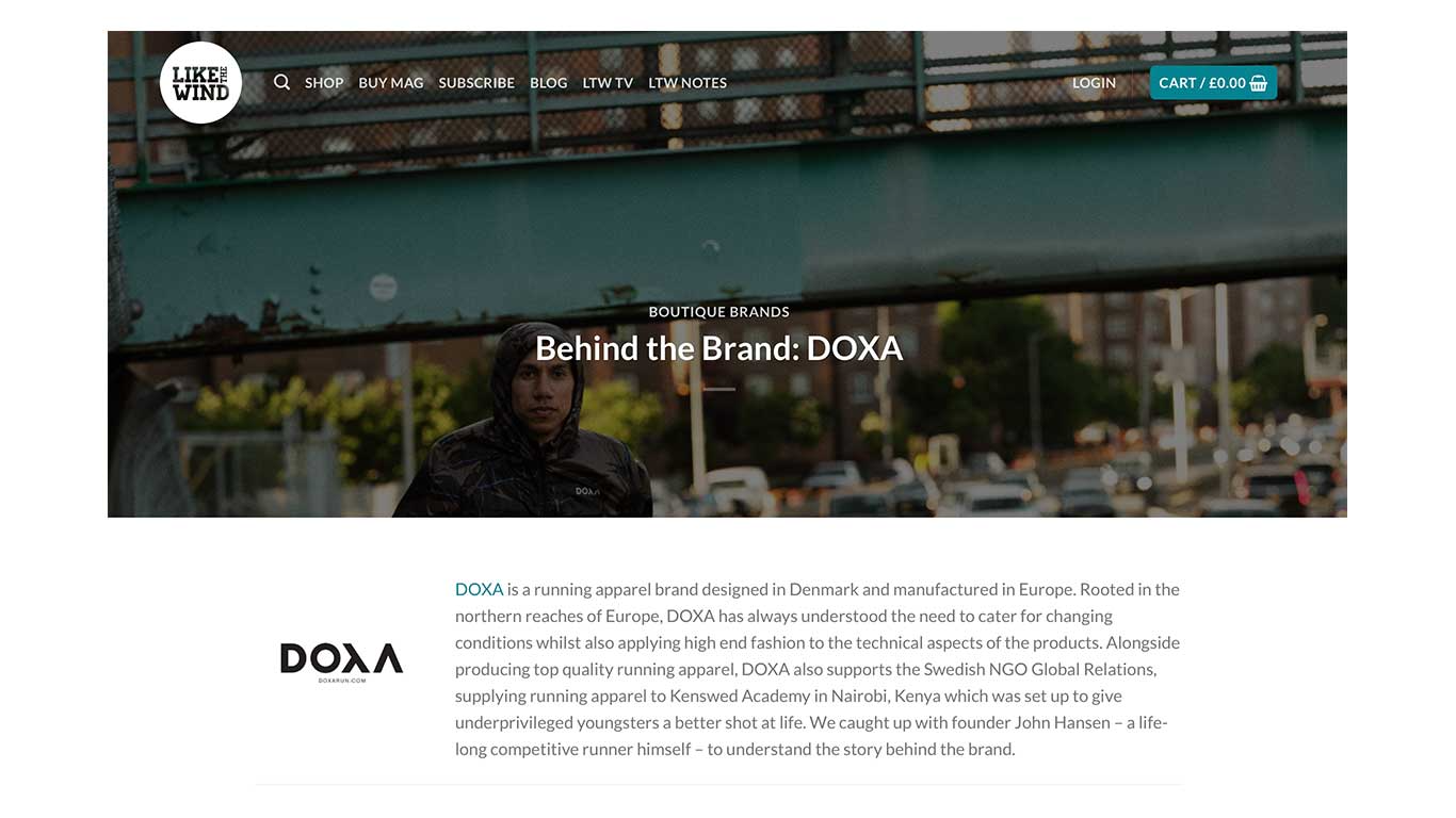 DOXA RUN interview behind the brand with Like The Wind magazine