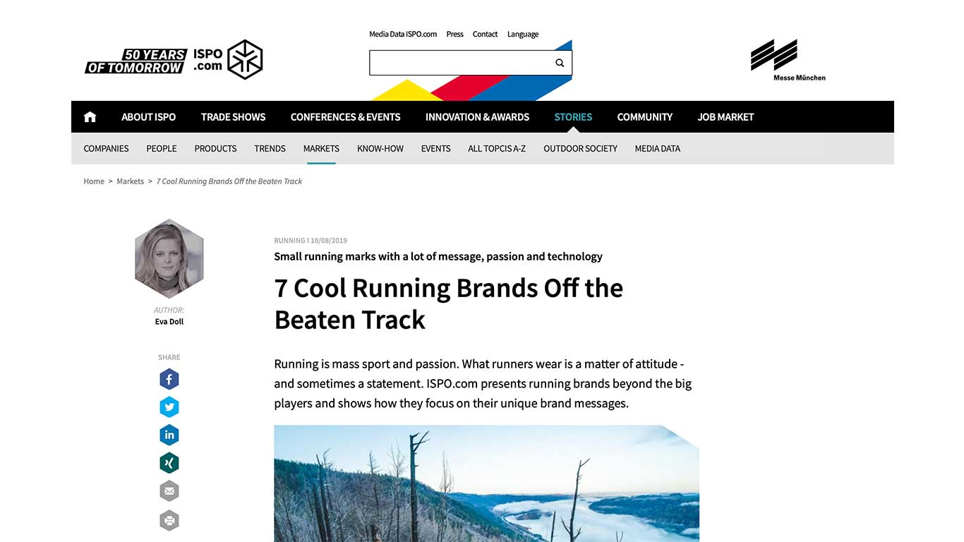 DOXA RUN mentioned on ispo.com as a brand to watch