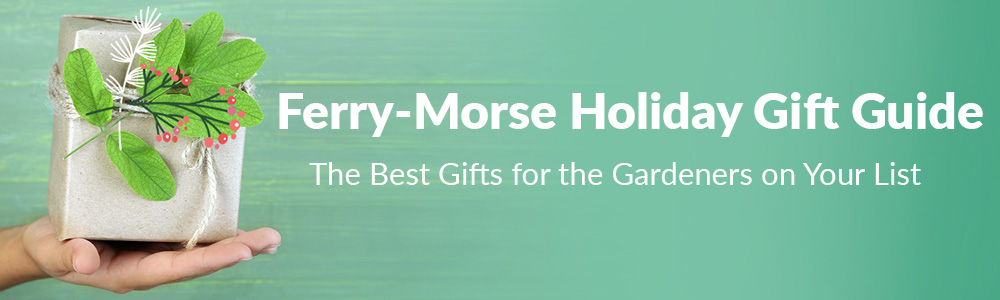 The Ferry-Morse Holiday Gift Guide   The Best Gifts for the Gardeners on Your List: Image shows a teal colored background and a close-up of a hand holding a package wrapped in brown craft paper.