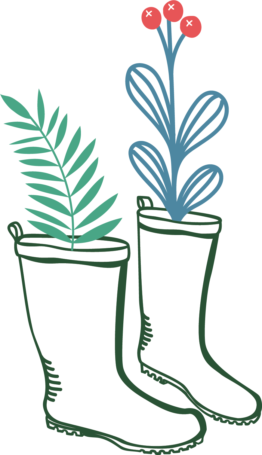 Illustration of Gardening Boots with Some Sprigs Sticking Out