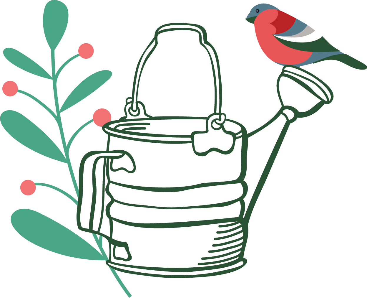 Beautifully Colored Winter Bird Perched on a Watering Can Illustration
