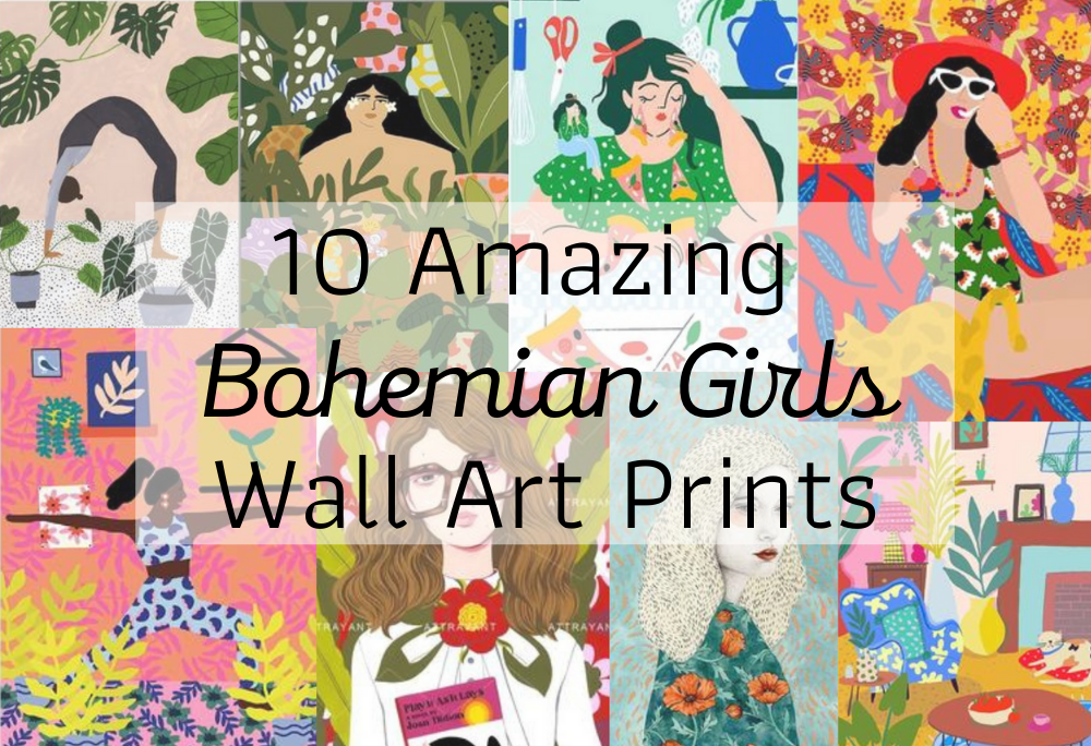 Amazing bohemian girls gallery wall art prints