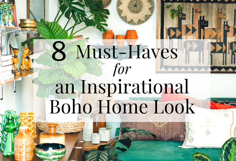 Must-Haves for an Inspirational Boho Home Look like rattan furniture, lightings, vowen baskets and bohemian wall arts