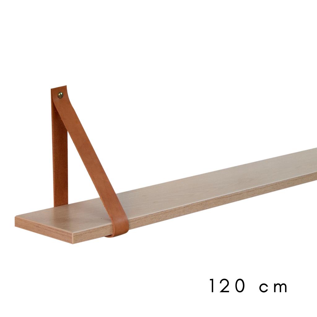 Prateleira Carvalho com cinta de couro de 120 cm de largura