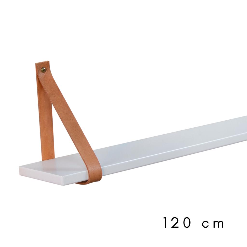 Prateleira Branca com cinta de couro 120 cm de largura