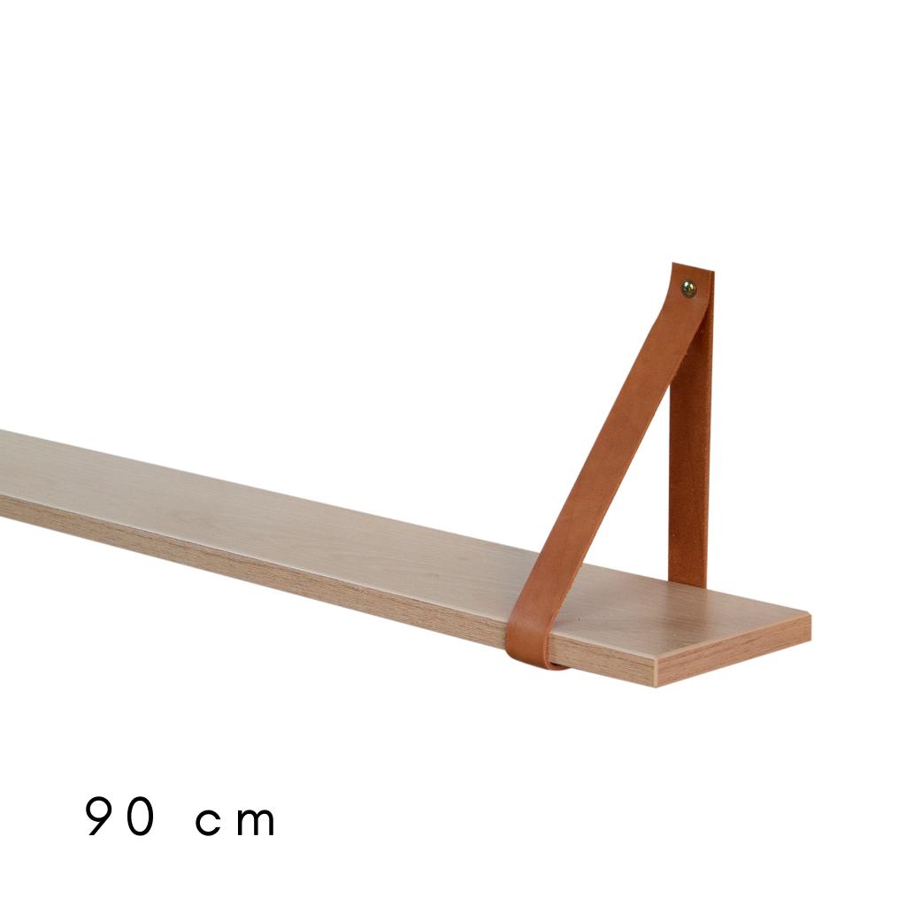 Prateleira com cinta de couro 90 cm de largura Carvalho