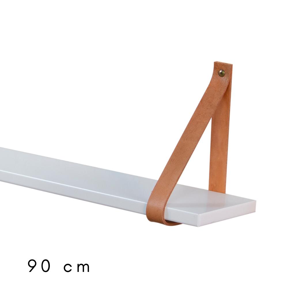 Cabideiro de 90 cm de largura branco com cinta de couro