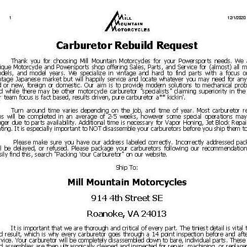 Carburetor Rebuild Request