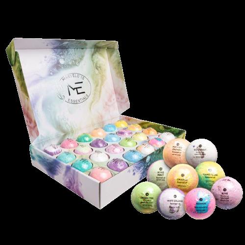 Marvelous Essentials 24 Aromatherapy Bath Bomb Set