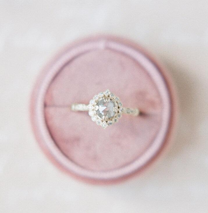 Salt and pepper diamond ring halo