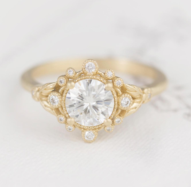 White Sapphire Engagement Ring Boho