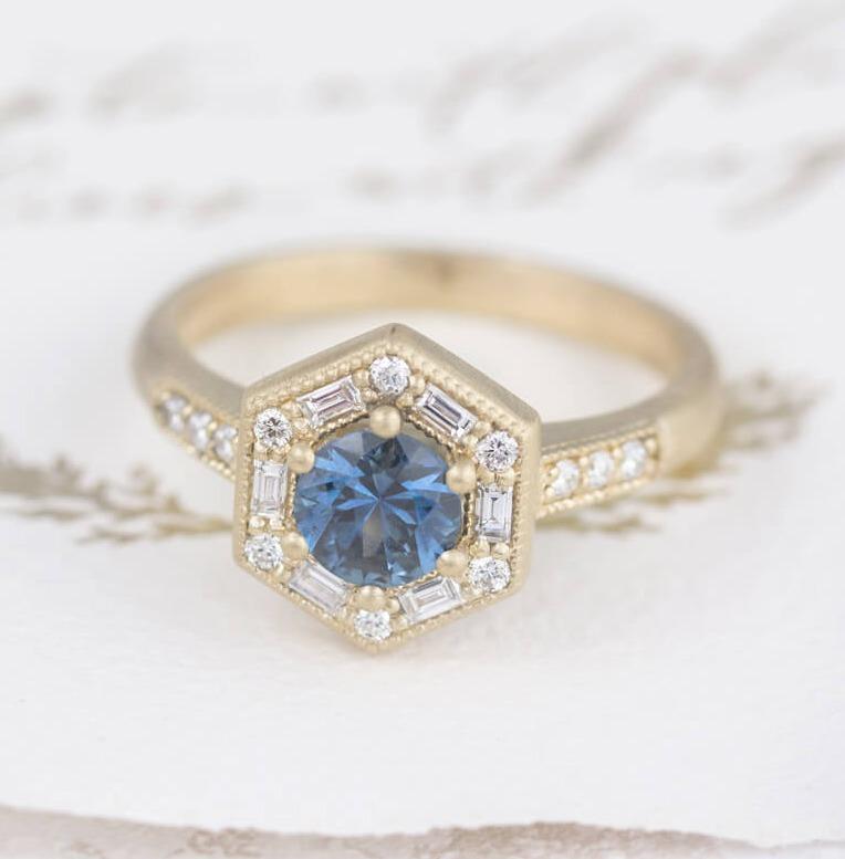 Montana Sapphire Ring with Diamond Halo