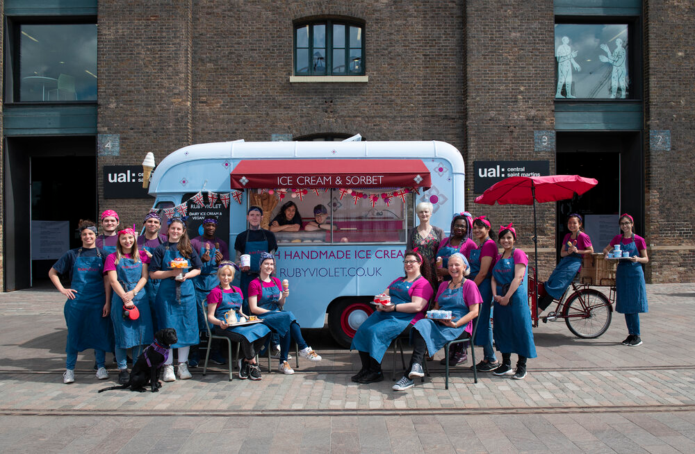 The Ruby Violet team with our vintage ice cream van