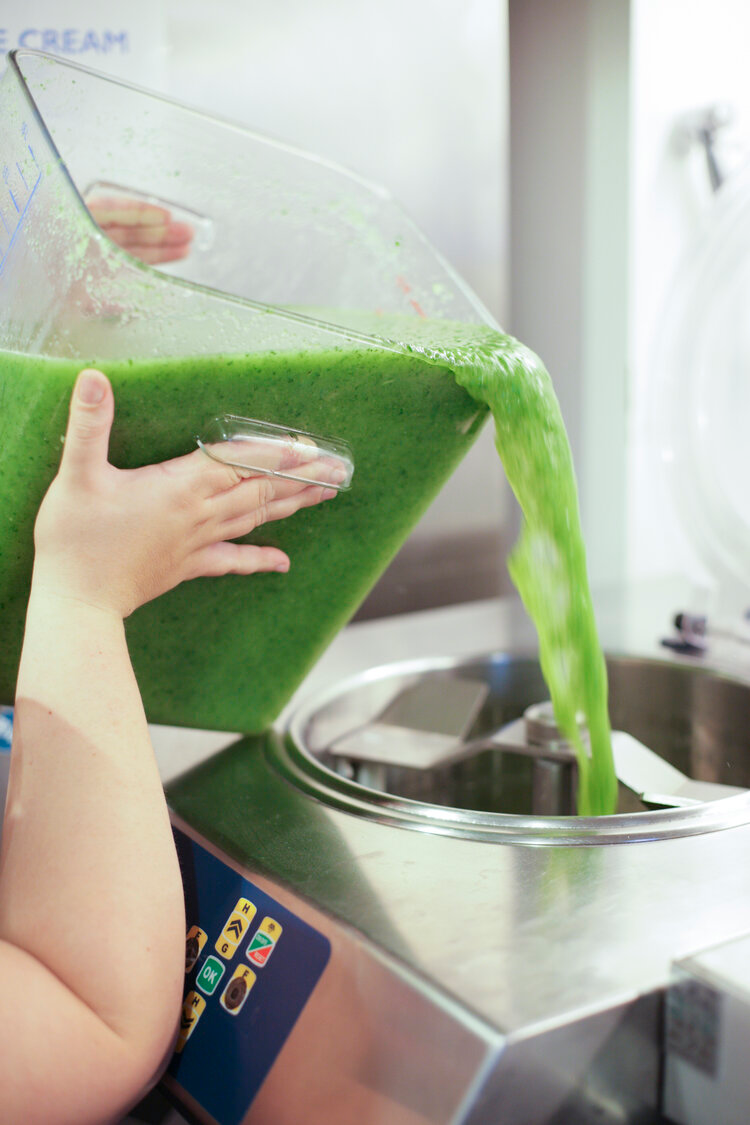 Vegan Mint & Cucumber Sorbet being poured into an ice cream machine