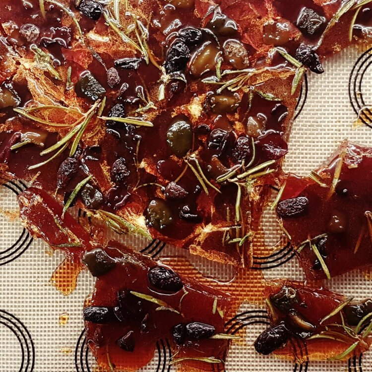 Bespoke brittle made with Gin Mare herbal elements