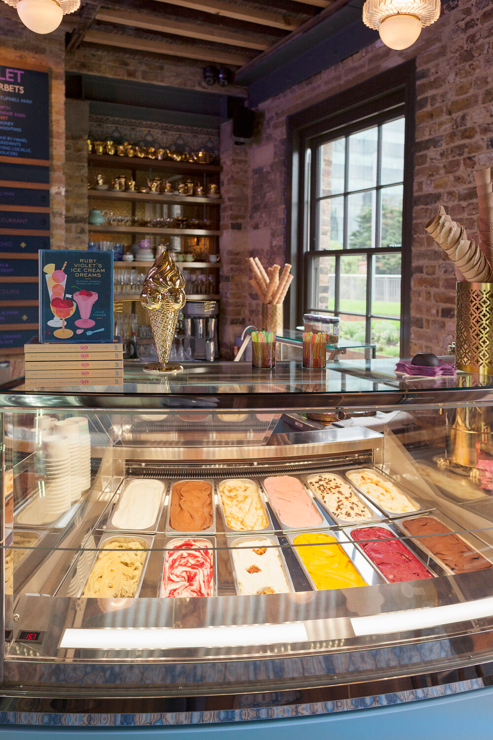 A view of the server with colourful ice creams in the King's Cross parlour