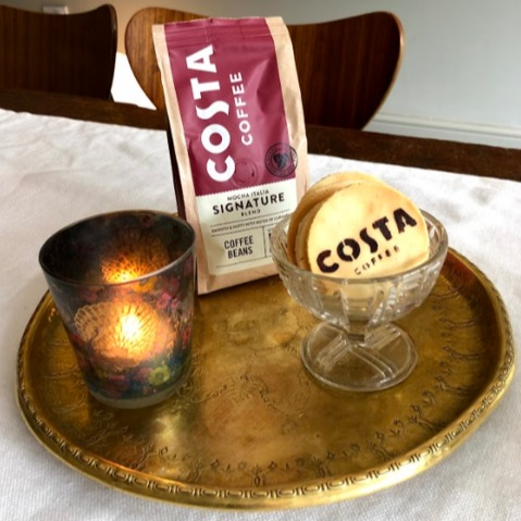 Costa coffee on a tray