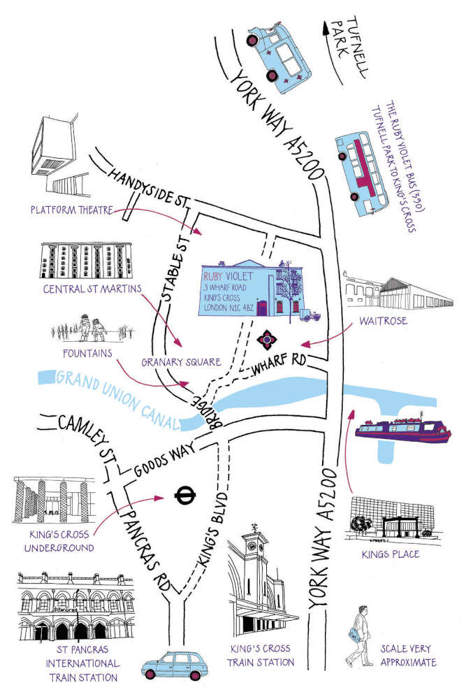 A hand drawn map of King's Cross with the Ruby Violet Parlour drawn by Christine Nicholls