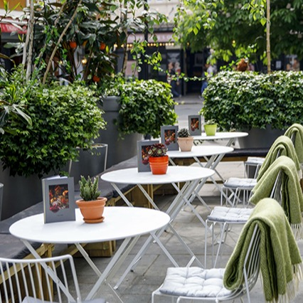 Outdoor seating area at St Martin's Lane