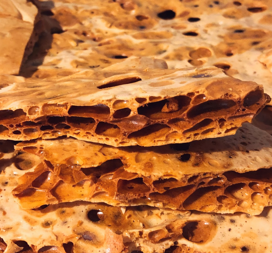 Closeup of homemade honeycomb