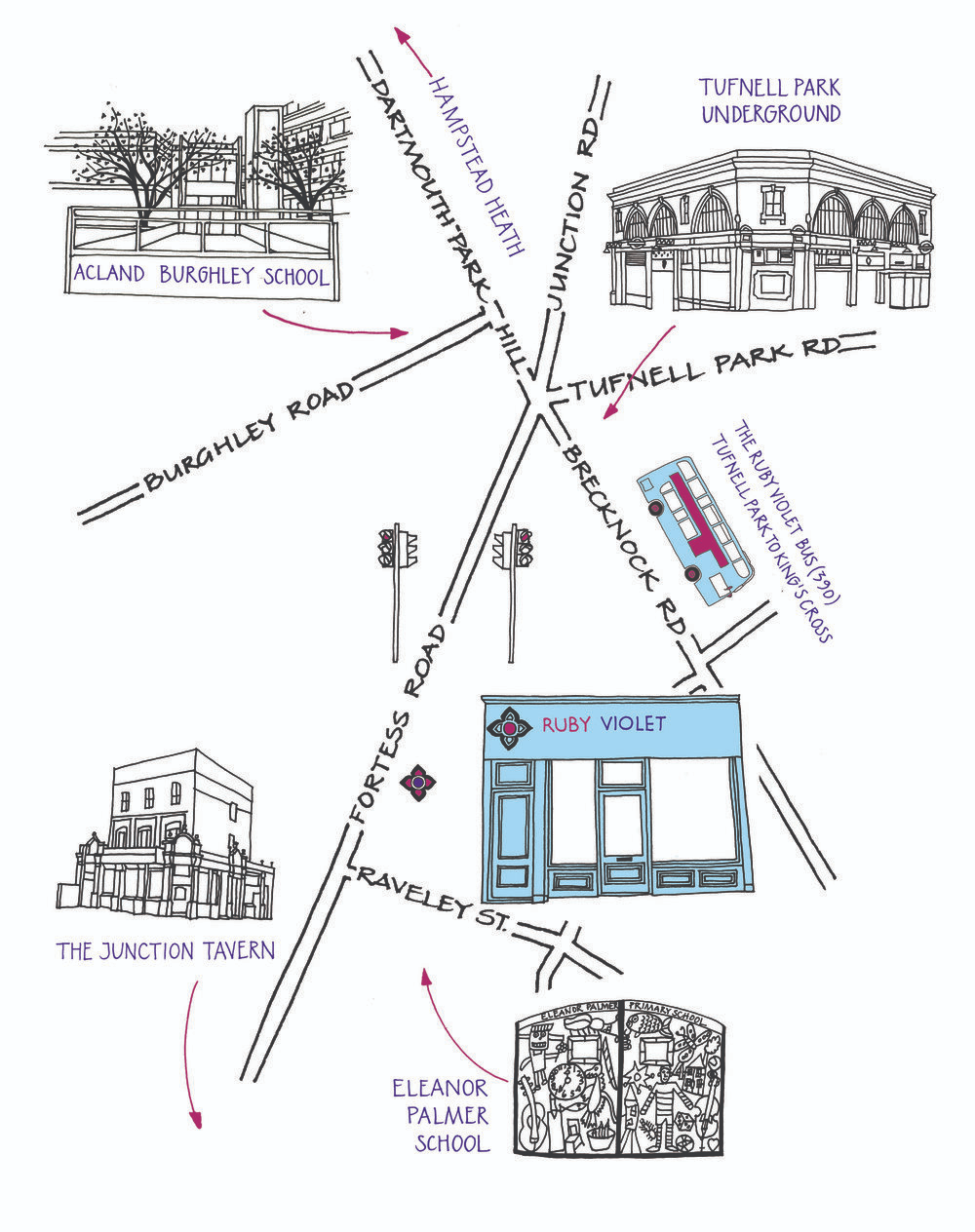 A hand drawn map of Tufnell Park with the Ruby Violet Parlour drawn by Christine Nicholls