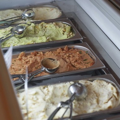 Pans of bespoke ice creams for Jacob's
