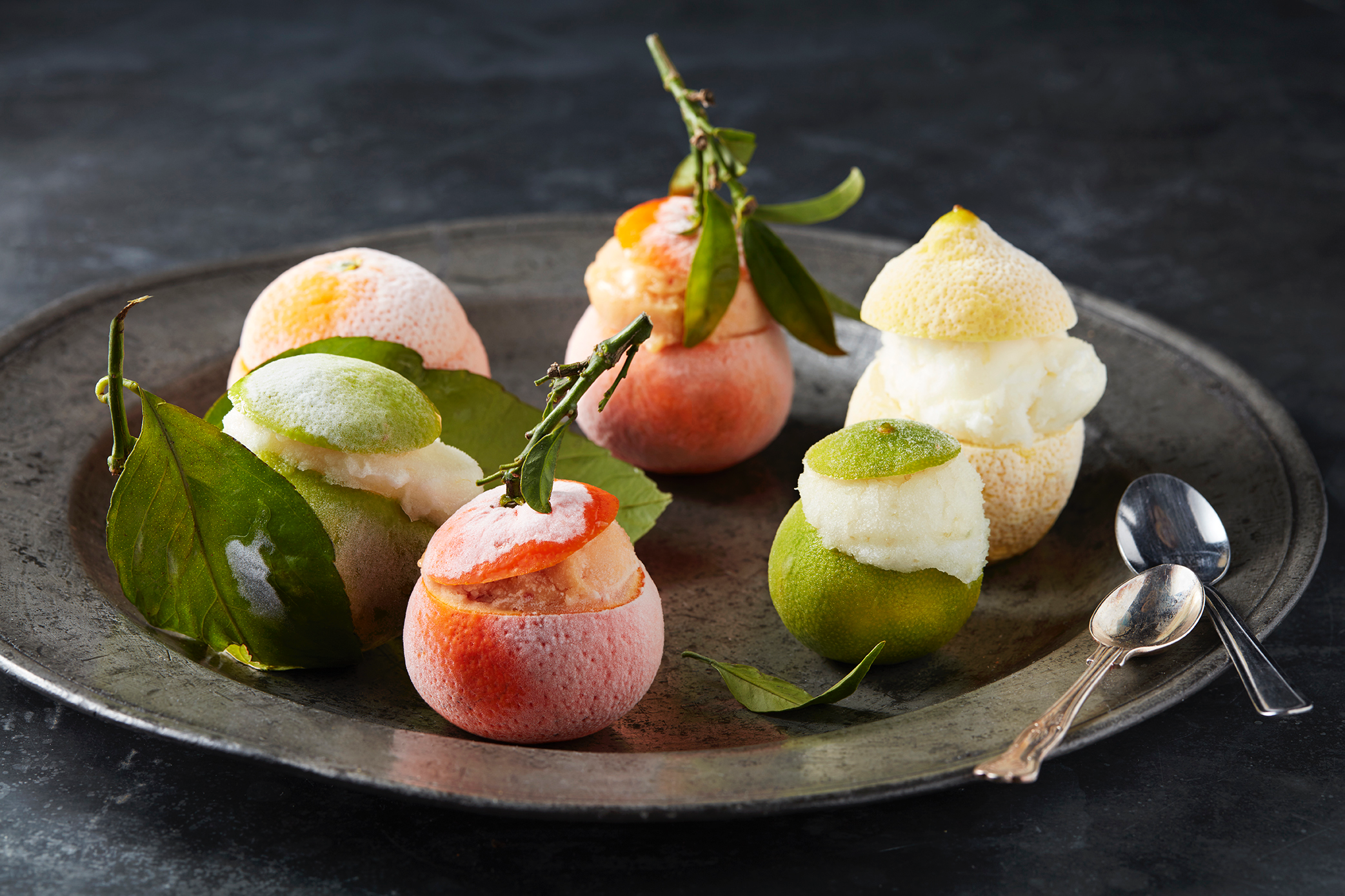 Frozen fruits filled with sorbet