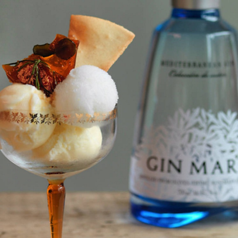 Gin Mare bottle with bespoke Ruby Violet sorbets and toppings