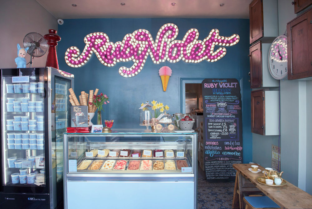 A view of the server in the Ruby Violet ice cream parlour in Tufnell Park, North London
