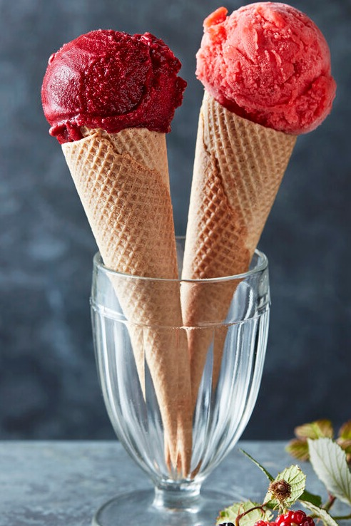 Two cones of ice cream in a cup