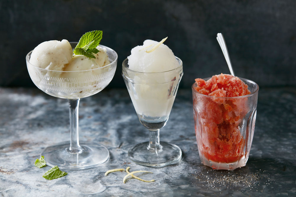 Three glasses with sorbets and toppings