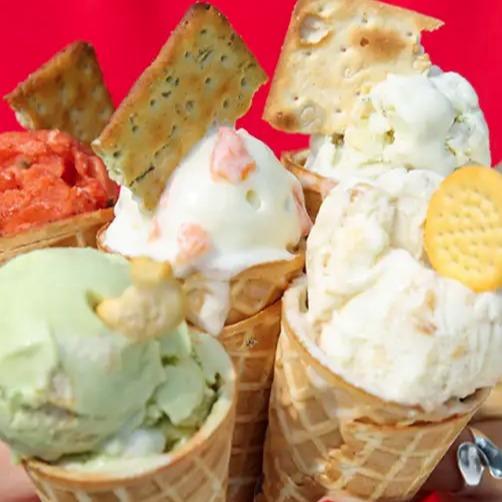 Bespoke savoury ice cream in cones
